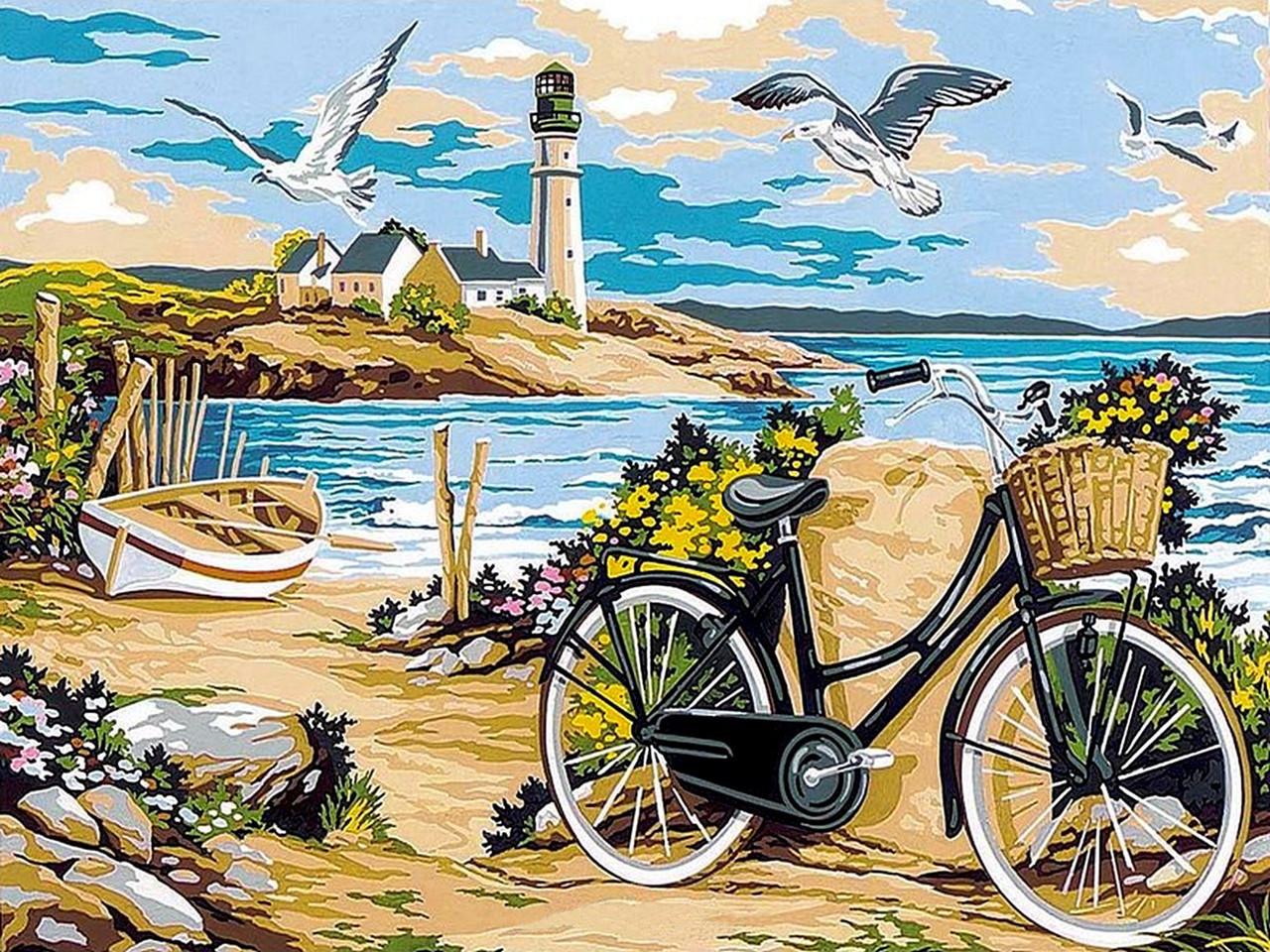 VK052 Раскраска по номерам Прогулка по пляжу