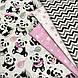 Хлопковая ткань польская панда с розовыми шариками на белом, фото 7