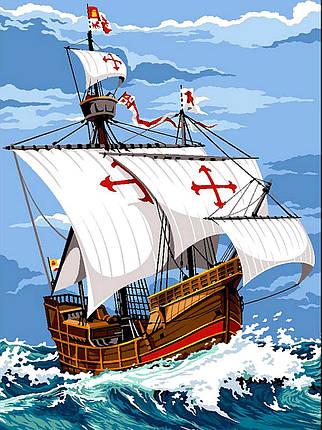 VK056 Раскраска по номерам Парусник Санта Мария, фото 2