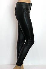 Жіночі чорні джинси з покриття під шкіру, фото 2