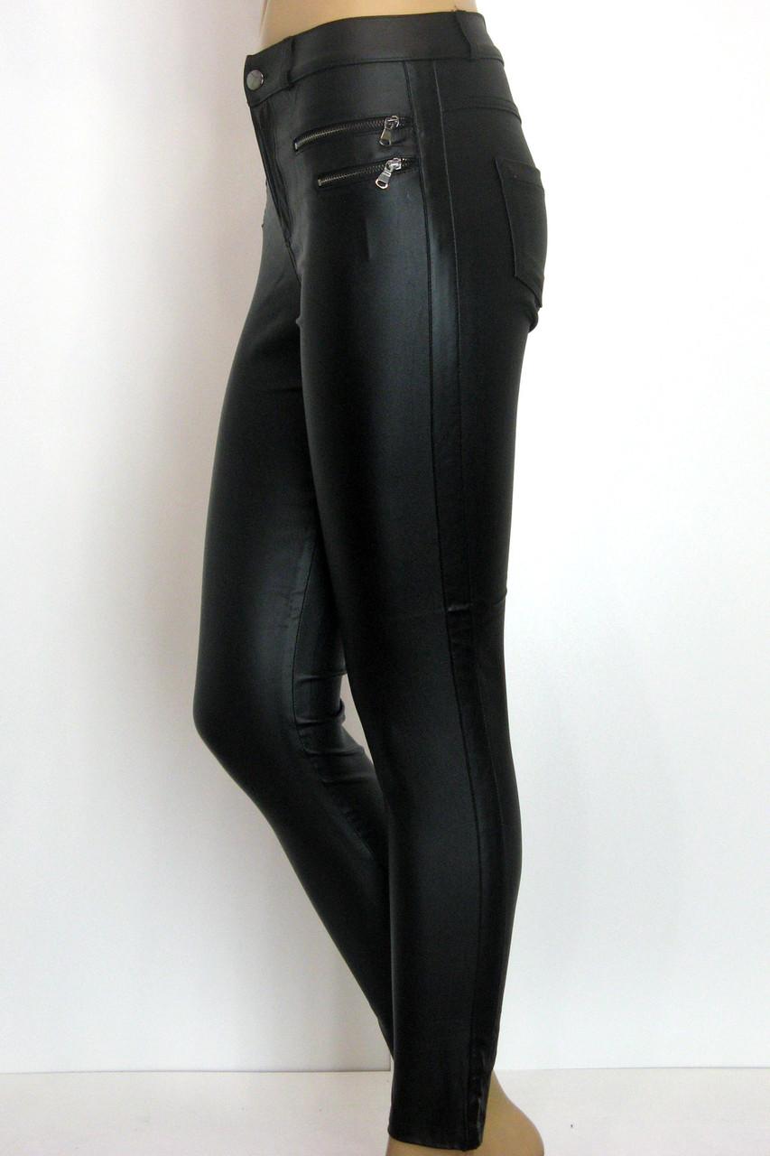 Жіночі чорні джинси з покриття під шкіру