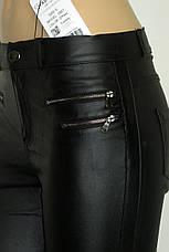 Жіночі чорні джинси з покриття під шкіру, фото 3