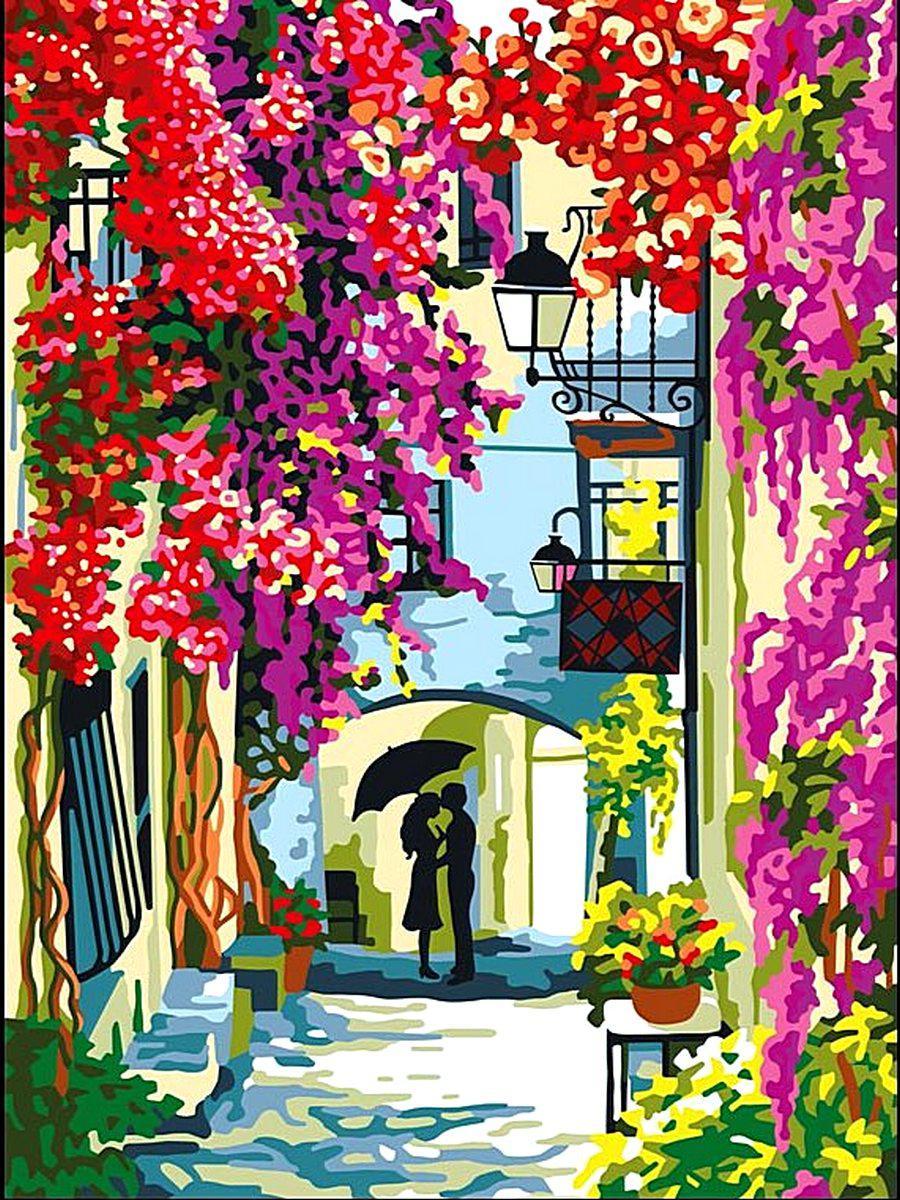 VK061 Раскраска по номерам Цветочная улица