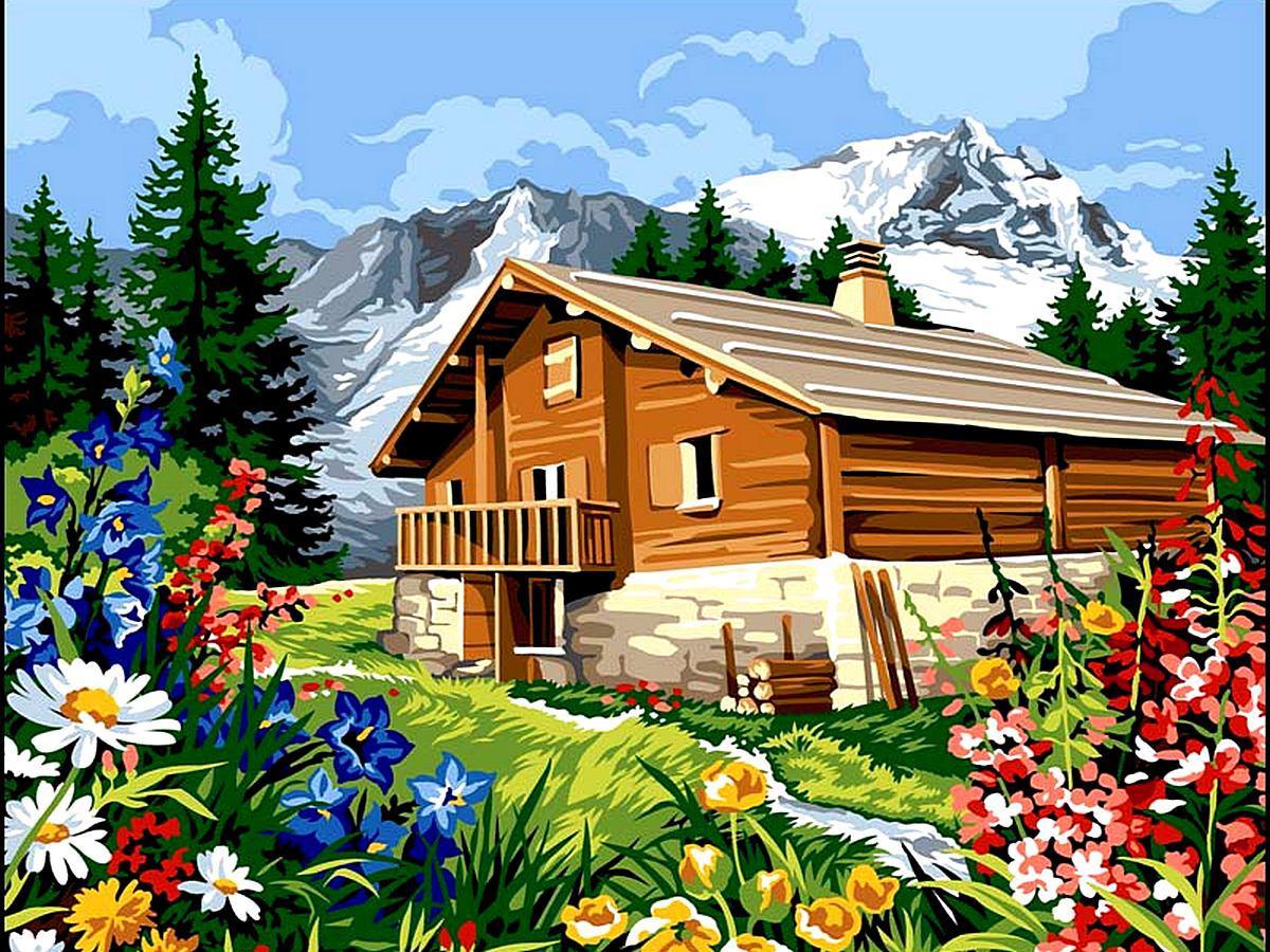 VK062 Раскраска по номерам Домик в Альпах