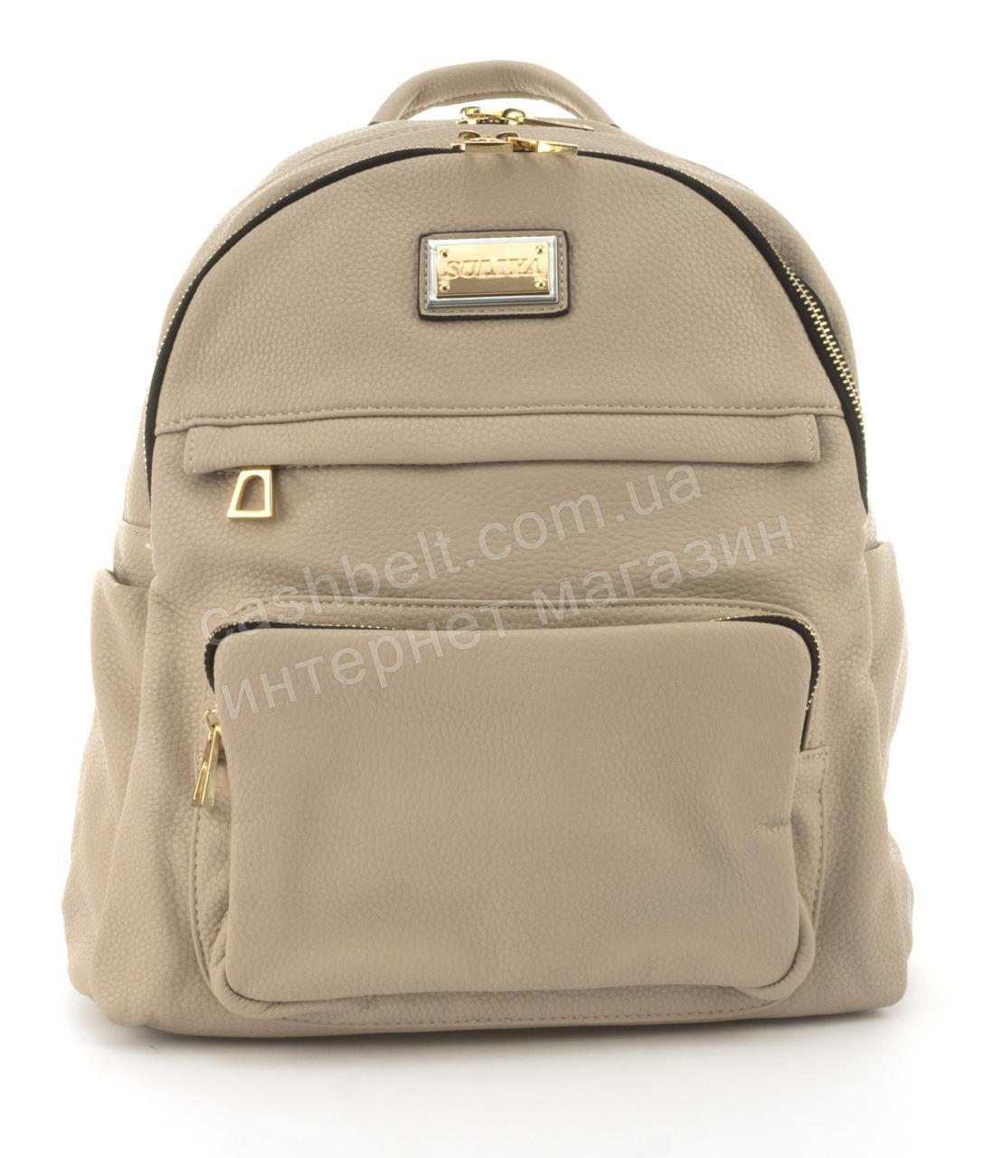Прочный и надежный рюкзачок среднего размера из эко кожи Suliya art. 7092 хаки