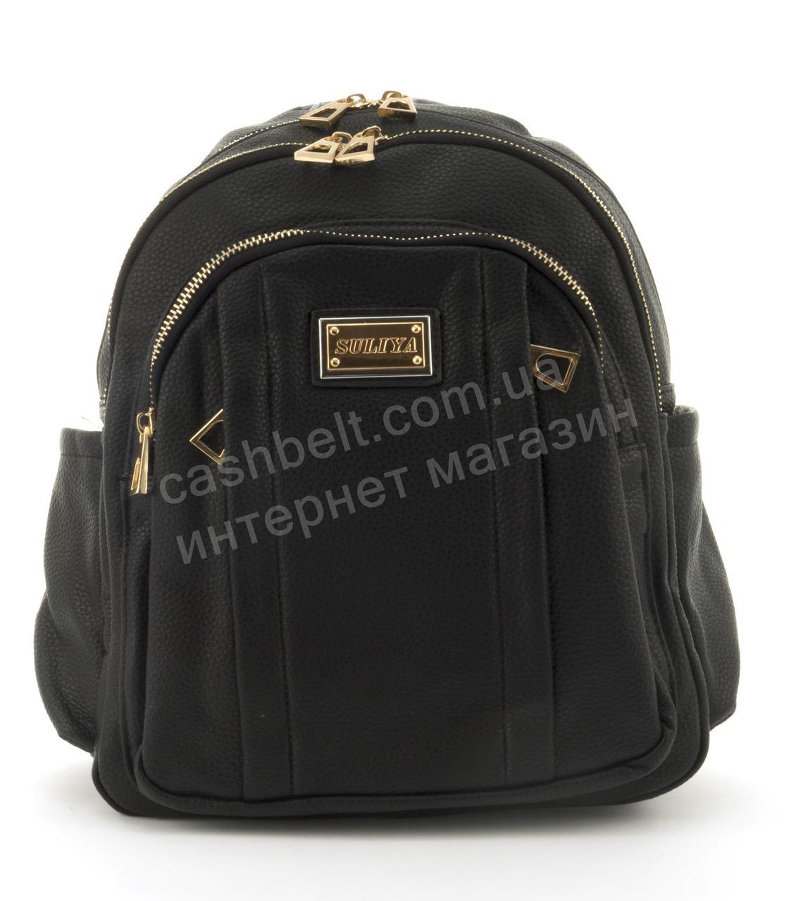Прочный и надежный рюкзачок среднего размера из эко кожи Suliya art. 7060 черный