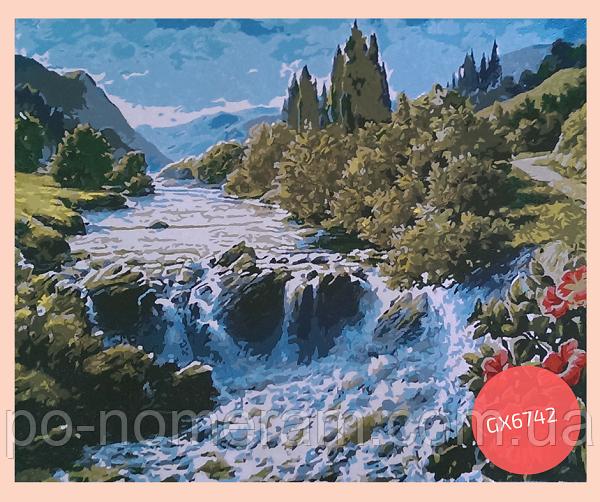 раскраска по номерам водопад
