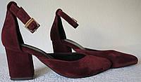 Комфортные туфли Limoda из натуральной замши босоножки на каблуке 6 см винного цвета