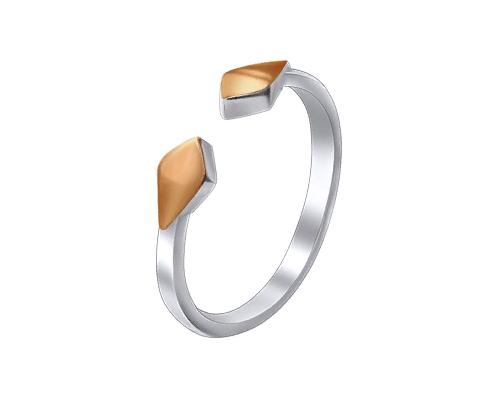 """Фаланговое кольцо из серебра с золотом """"Ромб"""""""