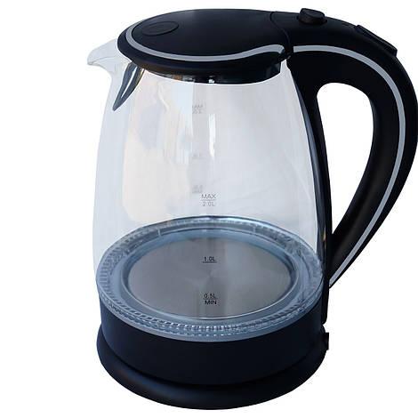 Электрочайник стекло  DT 703 черный 2 литра распродажа