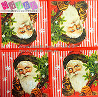 "Салфетка декупажная 33Х33см 25 ""Дед мороз на красном фоне"" (товар при заказе от 200 грн)"