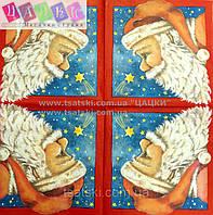 "Салфетка декупажная 33Х33см 25 ""Дед мороз и звезды"" (товар при заказе от 200 грн)"