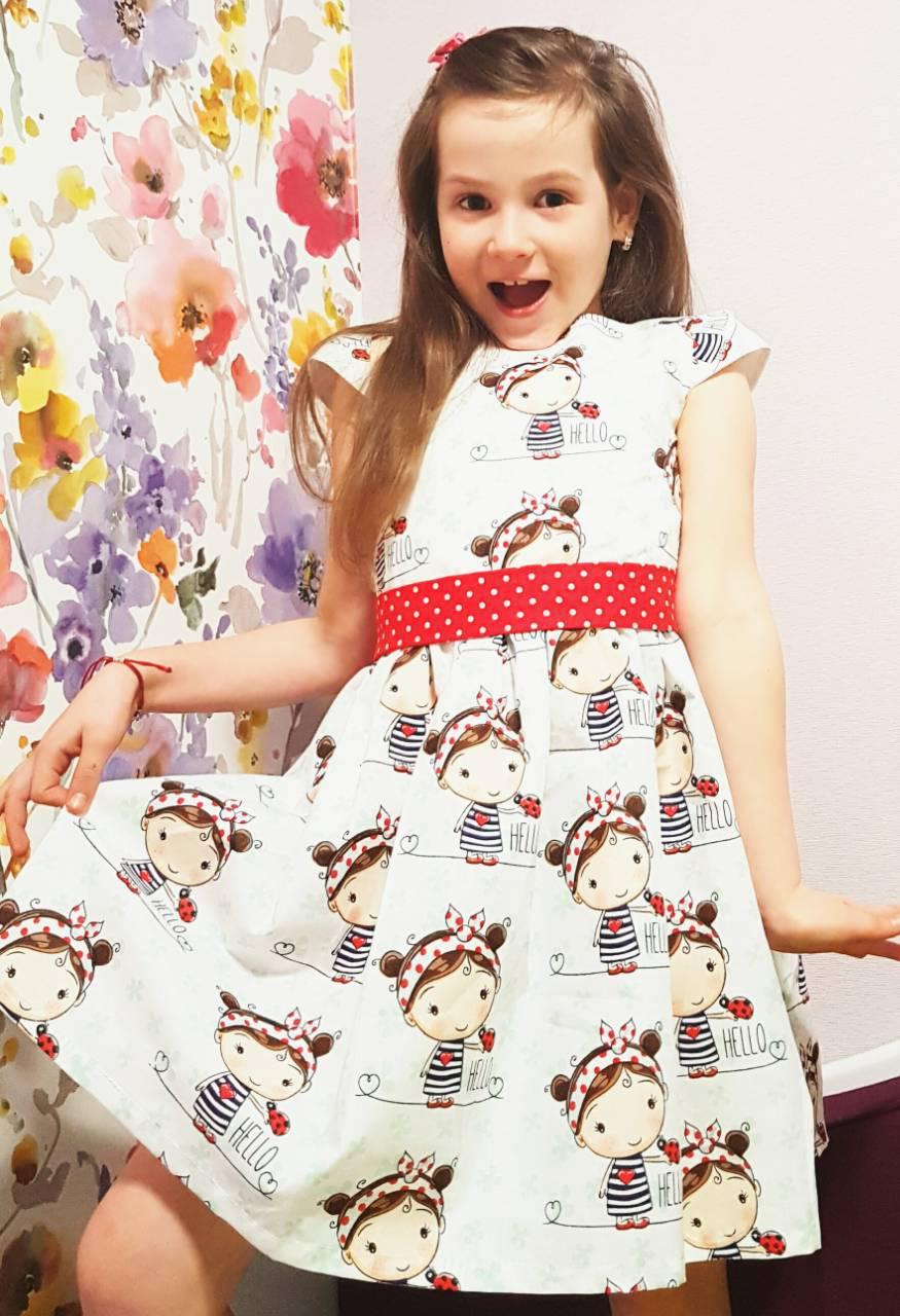 a9dd2e5b181 Платье детское «Девочка с поясом в горох». Нарядное 104 - Магазин детской  одежды