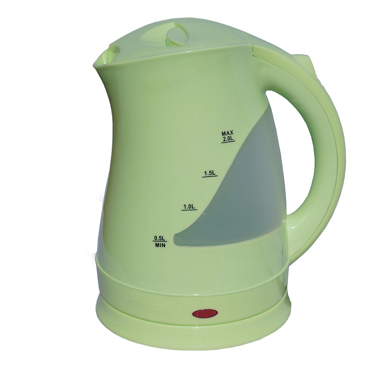 Электрочайник пластик  DT 603 зеленый 2 литра распродажа