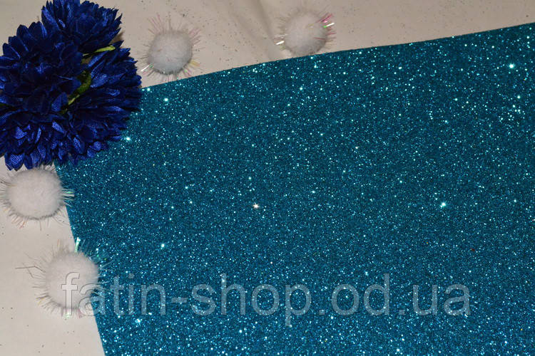 Фоамиран с глиттером 2мм цв.Turquoise