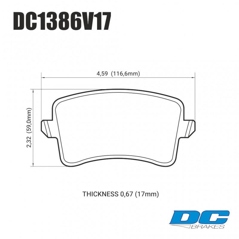 Колодки тормозные задние DC1386V17 DC BRAKES STREET STR.S,  AUDI A5, A4, Q5, A6, A7, A8