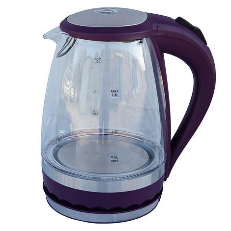 Электрочайник стекло  DT 701 фиолетовый 1.8 литра распродажа
