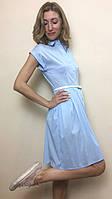 Голубое платье с карманами на пуговицах П89-110, фото 1