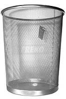 Корзина для бумаг, металлическая сетка, серебряного цвета, высота 34см, диаметр 29,5см