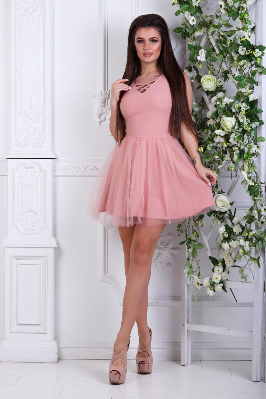 Платье с фатином, №48, пудра.