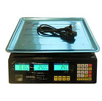 Электровесы со счетчиком цены Crystal CR 50 kg 6v (2gm), весы торговые, весы напольные, веса, ваги