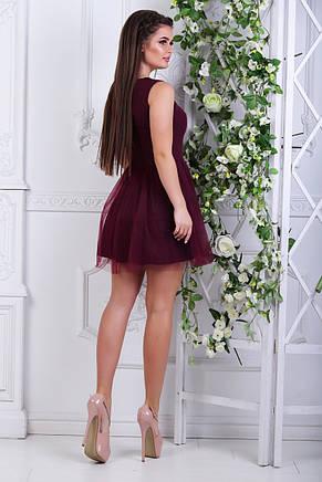 Платье с фатином, №48, бордовое., фото 2