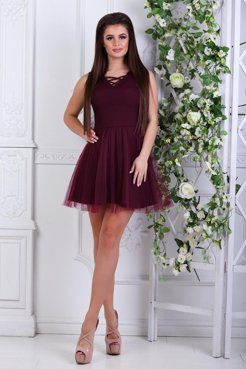 Платье с фатином, №48, бордовое.