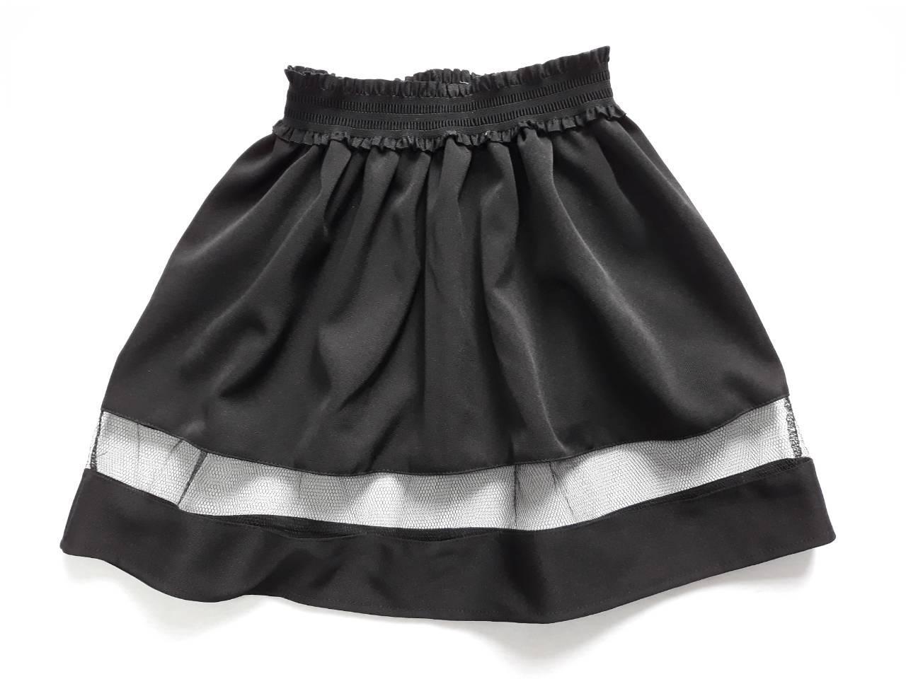Черная школьная юбка для девочки со вставкой из сетки 34-38 р
