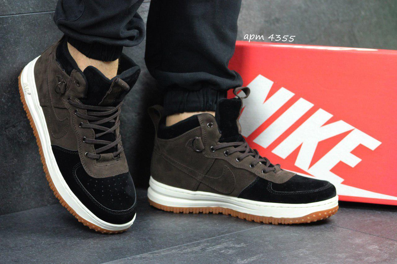 Мужские кроссовки Nike Lunar Force 1 коричневые- Замша , подошва  полиуретан(прошиты), c821b2701cd