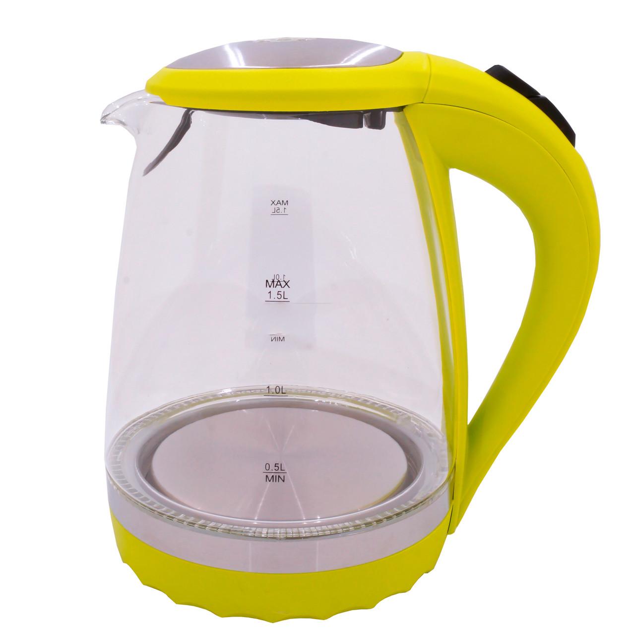 Электрочайник стекло DT 820 желтый 1,5 литра распродажа