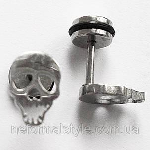"""Серьги гвоздики """"Череп"""" (имитация тоннелей). Медицинская сталь., фото 2"""