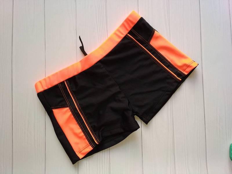 Детские плавки-шорты черные с оранжевымивставкамир. 38-46