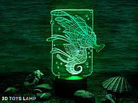 """3d светильник """"Морской конек"""" 3DTOYSLAMP"""