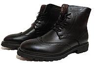 Мужские ботинки в стиле Oxford - black, материал - кожа, подошва - резина, полиуретан