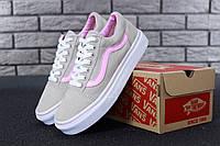 Кеды женские в стиле Vans Old Skool код товара KD-11583. Серые с розовым