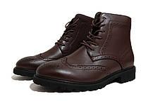 Мужские ботинки в стиле Oxford - marsala, материал - кожа, подошва - резина, полиуретан