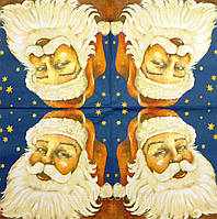 "Салфетка декупажная 33Х33см 25 ""Дед мороз на фоне звезд"" (товар при заказе от 200 грн)"