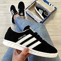 Кроссовки женские черные ( кеды) Adidas Hamburg летние женские кроссовки ( реплика)
