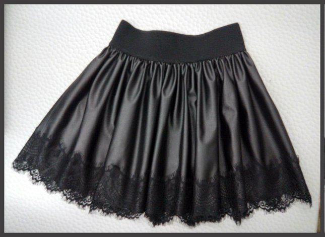 Стильная юбка для девочки из экокожи с кружевом 34-40 р