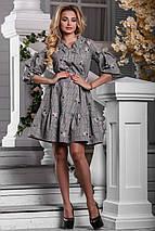 Женское расклешенное платье в клетку (2604-960 svt), фото 3