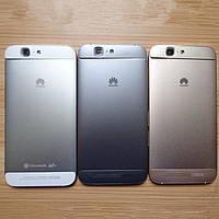 Задня панель корпуса з боковою кнопкою, без лотка Sim для смартфону Huawei Ascend G7 сріблястого кольору