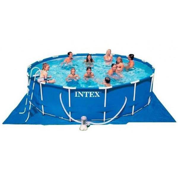 Круглый каркасный бассейн Intex + фильтр-насос (220-240V) + лестница + подстилка + тент, 457х84 см (28228)