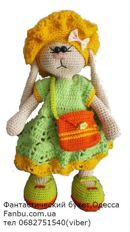 вязаные игрушки в подарок заяц в салатовом 30см цена 500 грн
