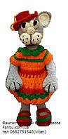 """Вязаные игрушки в подарок """"Кошка в оранжевом""""35см"""