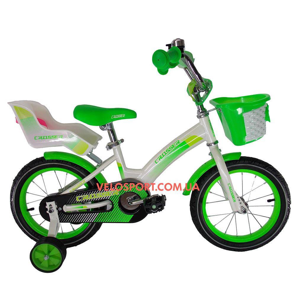 Детский велосипед Crosser Kids Bike 12 дюймов бело-салатовый