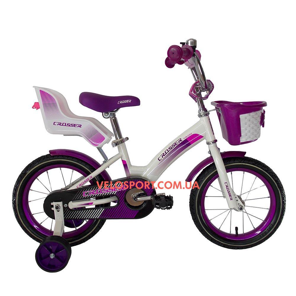 Детский велосипед Crosser Kids Bike 12 дюймов с сиденьем для куклы бело-фиолетовый