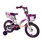 Детский велосипед Crosser Kids Bike 12 дюймов с сиденьем для куклы бело-фиолетовый, фото 2