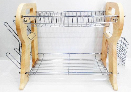 Сушилка для посуды с деревянными боками А-ПЛЮС 1194
