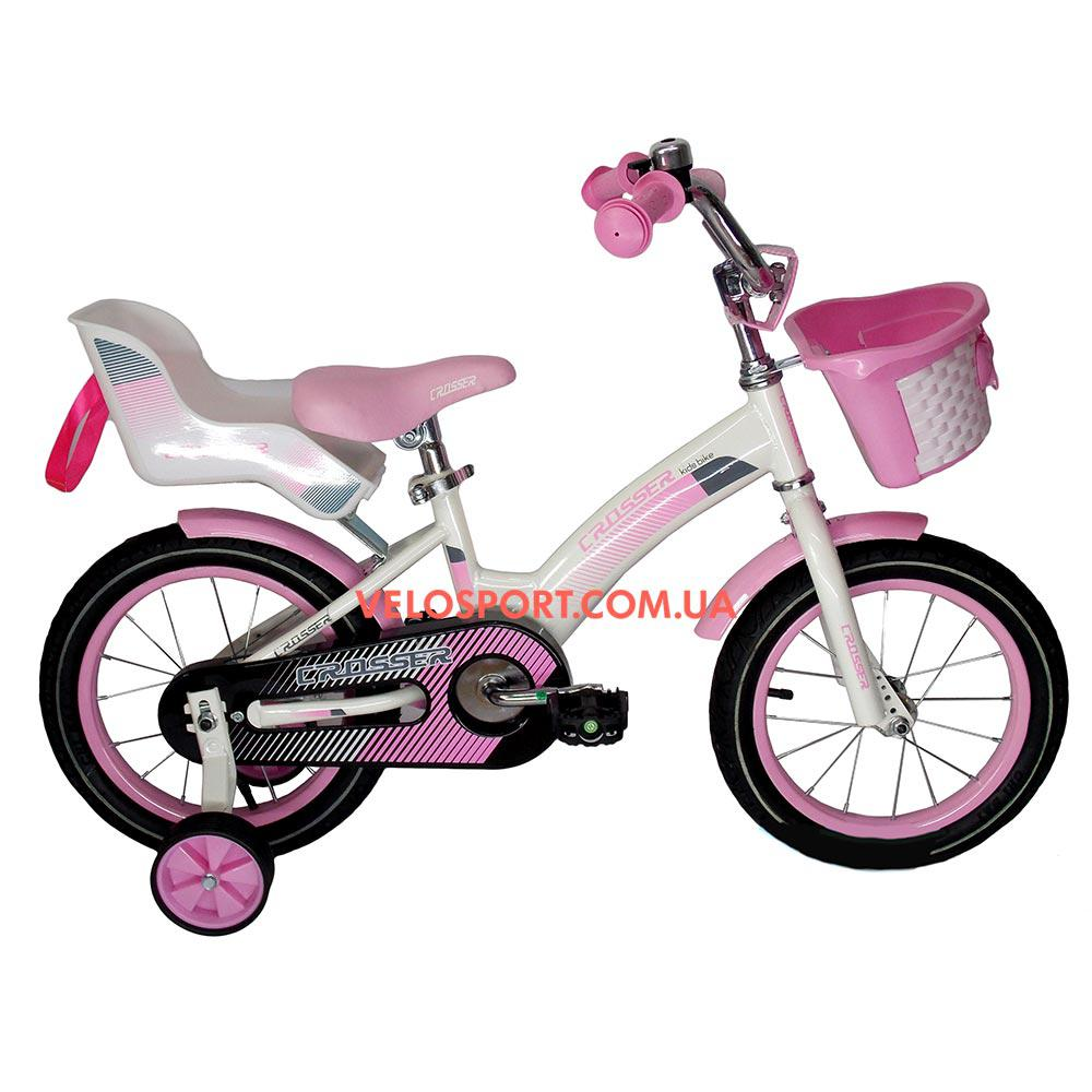 Детский велосипед Crosser Kids Bike 14 дюймов с сиденьем для куклы бело-розовый