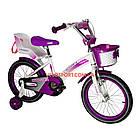 Детский велосипед Crosser Kids Bike 16 дюймов с сиденьем для куклы бело-фиолетовый, фото 2